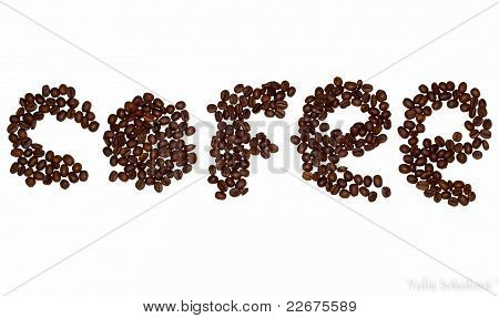 Cofee bean letters stock photo