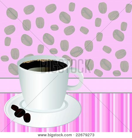Taza de café sobre fondo de rayas rosa