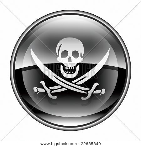 Pirate Icon Black, Isolated On White Background.