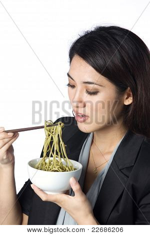 Business Woman Eating Noodles