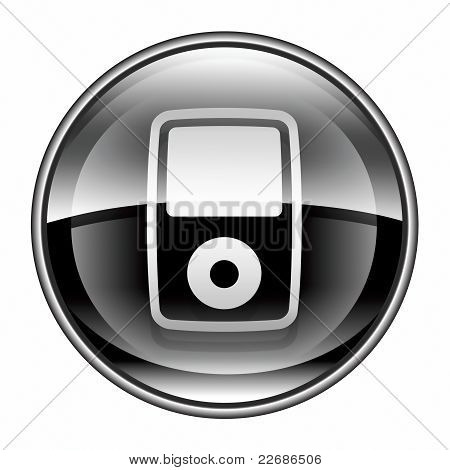 Mp3 Player Black, Isolated On White Background