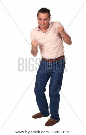 Attractive Middle Age Man in Fighting Pose Ready to Punch