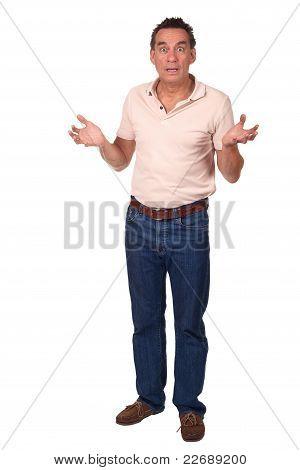 Surprised Shocked Man Holding Up  Hands
