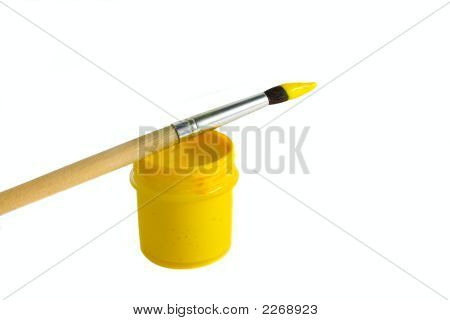 Art Paintbrush With Yellow Paint