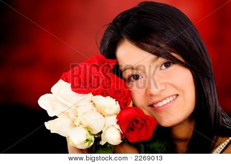 Beautiful Girl Holding Roses