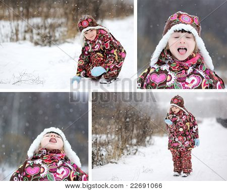 Adorable Child Girl Winter Time Collage