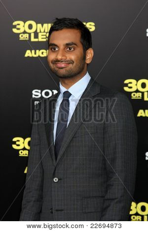"""LOS ANGELES - AUG 8:  Aziz Ansari arriving at the """"30 Minutes or Less"""" Premiere at Grauman's Chinese Theater on August 8, 2011 in Los Angeles, CA"""