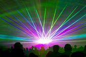 Laser Show Rays. Very Colorful Show With A Crowd Silhouette And Great Laser Rays On Pyrotechnic Fest poster