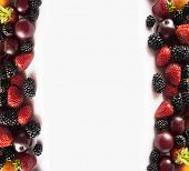 Ripe Blackberries, Strawberries And Plums On White Background. Mix Berries And Fruits On A White. Be poster
