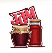 Vector Illustration Of Fruit Jam, Poster With Rustic Pot Of Raspberry Jelly With Paper Cover And Twi poster
