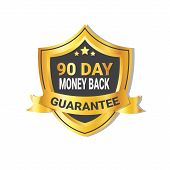 Golden Shield Money Back In 90 Days Guarantee Label With Ribbon Isolated Vector Illustration poster