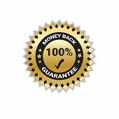 Golden Sticker Money Back With Guarantee 100 Percent Stamp Isolated Vector Illustration poster