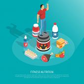 Fitness Protein Sources Food Supplements Energizes Drinks  Healthy Nutrition Isometric Background Po poster