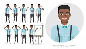 Set Of Emotions And Poses For Black African American Business Man. Male In A Cartoon Style Experienc poster