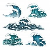 Sea Waves. Vintage Cartoon Ocean Tidal Storm Waves Isolated On White Background For Surfing And Seas poster