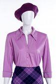 Elegant Silk Blouse For Women. Female Mannequin Wearing Beret, Shirt And Skirt. Women Elegance And S poster