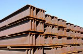foto of girder  - large steel girder on an industrial site - JPG