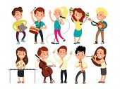 Schoolkids Playing Music On Stage. Children Musicians Performing Music Show. Musical Guitar And Musi poster