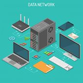 Data Network Isometric Business Concept With Network Server, Computer, Laptop, Router And Multimedia poster