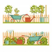 Concept Of Gardening. Garden Tools. Banner With Summer Garden Landscape. Flat Style, Vector Illustra poster