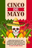 Cinco De Mayo Mexican Holiday Greeting Card For Fiesta Party Template. Festival Skull In Sombrero Ha poster