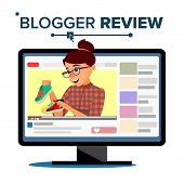 Blogger Review Concept Vetor. Popular Young Video Streamer Blogger Girl, Woman. Fashion Blog. Live B poster