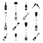 Champagne Bottle Glass Icons Set. Simple Illustration Of 16 Champagne Bottle Glass Vector Icons For  poster