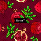 Seamless Pattern With Pomegranate. Decorative Models Of Pomegranate Fruits On A Dark Red Background. poster