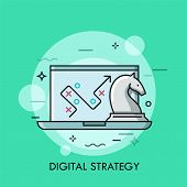 Laptop With Map, Path Or Route On Screen And Knight Chess Piece. Concept Of Digital Strategy And Mod poster