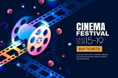 Vector Glowing Neon Cinema Festival Banner. Film Reel In 3D Isometric Style On Abstract Night Cosmic poster
