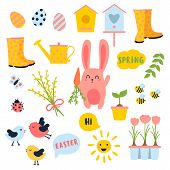 Vector Easter And Spring Set With Cute Bunnie With Carrot, Birds, Chicken, Eggs, Flowers, Birdhouses poster