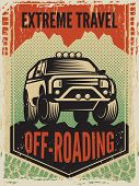 Design Template Of Poster In Retro Style With Suv Big Car. Off Road Machine. Transportation Car 4x4  poster