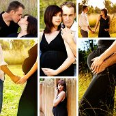 Collage of images of 8 months pregnant brunette woman with her husband outdoors on a sunny day.