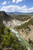 stock photo of calcite  - View of the Yellowstone river in Calcite springs Yellowstone National Park WY - JPG
