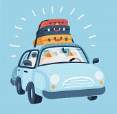 Vector Cartoon Illustration Of Car For Traveling. Vehicle Transport With Baggage For Family Trip. Lu poster
