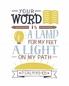Hand Lettering Your Word Is A Lamp For My Feet, A Light On My Path. Bible Verse. Christian Poster. N poster
