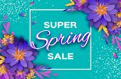 Origami Violet Super Spring Sale Flowers Banner. Paper Cut Floral Card. Spring Blossom. Happy Womens poster