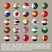 Asia Flags - Part 1. Glossy Round Button Flag Set. Vector Illustration. poster