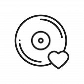 Vinyl Line Icon. Favorite Song. Vinyl Record Disco Dance Nightlife Club Dj Disk Party Theme. Sign An poster