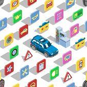 Car Automotive Icons Vector Isometric Automobile Service Sign Collection Of Auto Symbols Set Tire En poster