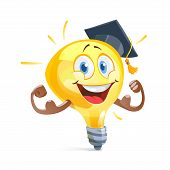 Funny Idea Lamp In Graduation Cap. Education Concept. Vector Illustration Flat poster