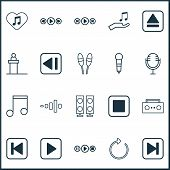 Music Icons Set With Play Music, Tape, Previous Music And Other Music Control Elements. Isolated Vec poster