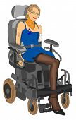stock photo of amputee  - ILLUSTRATION Amputee young woman without arm and leg in the powerchair - JPG