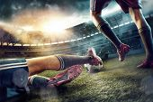 The Legs Of Soccer Football Players On Green Field Of The Stadium. Advertising Concept Of Soccer Foo poster