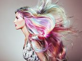 Beauty Fashion Model Girl With Colorful Dyed Hair. Girl With Perfect Makeup And Hairstyle. Model Wit poster