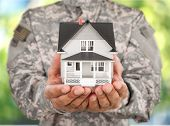 Hands House Soldier Real Estate House Model Small House Giving House poster