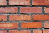 Textured Background Red Brick Wall With Traces Of Old Age And With Different Shades Of Bricks. Brick poster