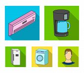 Home Appliances And Equipment Flat Icons In Set Collection For Design.modern Household Appliances Ve poster