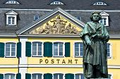 stock photo of bonnes  - statue of Beethoven in front of the former post office in Bonn - JPG
