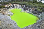 A Bright Green Pool Called Devils Bath, Colored By Volcanic Minerals At The Wai-o-tapu Thermal Wond poster